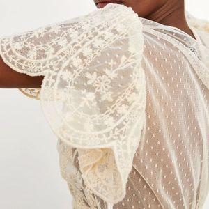 GORGEOUS ZARA NWT Embroidered Tulle Blouse